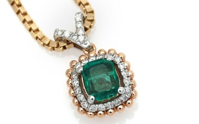 An emerald and diamond necklace set with an emerald-cut emerald encircled by numerous brilliant-cut diamonds, mounted in 14k rose gold and white gold. (2) – Bruun Rasmussen Auctioneers of Fine Art