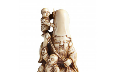 An ivory netsuke of Fukurokuju, the god of longevity, seated with two karako, one of whom stands at his shoulder,…Read more