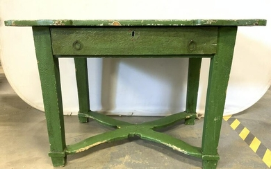 Antique Wooden Farm Work Table W Drawer