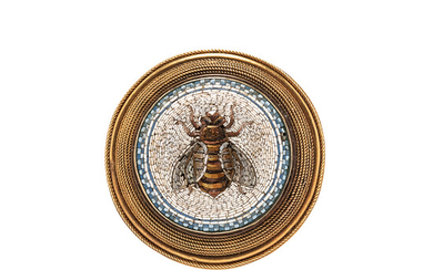 Archeological Revival 18kt Gold and Micromosaic Brooch