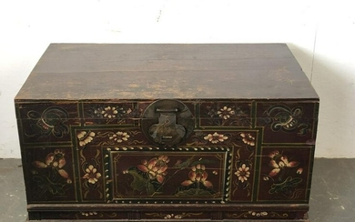 """Asian Style Painted Trunk 24""""h x 39 1/2""""w x 24 1/2""""d"""