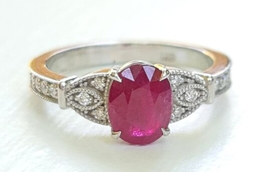 Astounding! Natural Ruby ring with Diamonds - IGI Certificate - 14 kt. Yellow gold - Ring - 1.62 ct Ruby - Diamond, 0.30 D-F/VVS