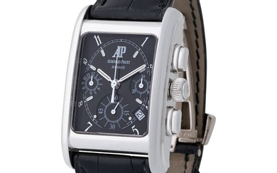 Audemars Piguet. Very Rare and Sophisticated Edward Piguet Automatic Chronograph in White Gold, Reference 25925BC, With Black Dial and Extract de Registre