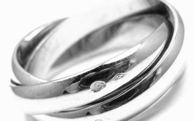 Authentic! Cartier 18k White Gold Trinity Band Ring