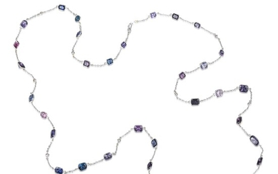 Bezel-Set Multi-Colored Spinel and Diamond Long Chain Necklace