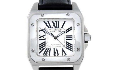 CARTIER - a mid-size stainless steel Santos 100 wrist watch.