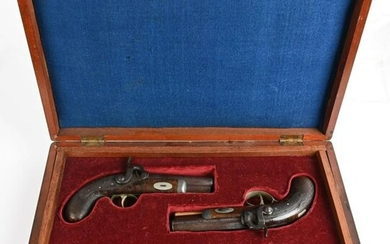 CASED PAIR 1840'S DERRINGERS WITH DRESS KNIFE