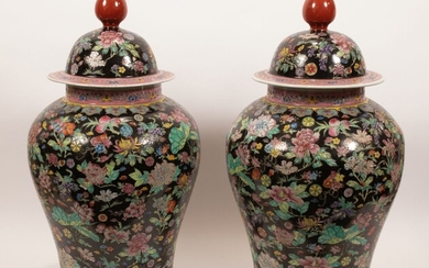 """CHINESE FAMILLE NOIRE PORCELAIN COVERED JARS, PAIR, H 28"""", DIA 15"""""""