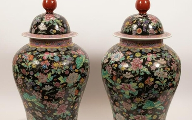 CHINESE FAMILLE NOIRE PORCELAIN COVERED JARS, PAIR, H