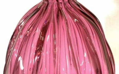 CRANBERRY FLUTED Tall Glass Vase