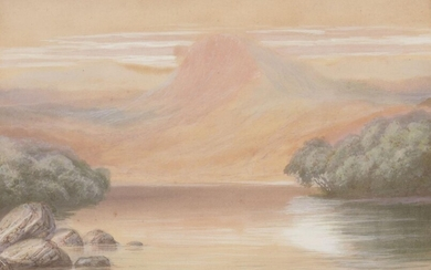 C.W. Burnside, British school, early 20th century, untitled landscape, watercolour and bodycolour, mounted, glazed and framed, 27cm x 18.5cm Provenance: Gifted to the current owner by H.H. Maharaja Digveerendrasinh Ji of Vansda