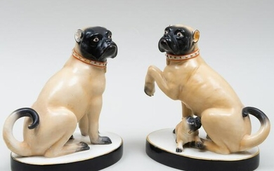 Continental Porcelain Mating Pair of Pugs and a Puppy