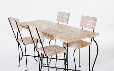 DESIGNERS GUILD, table, chairs, 4 pcs, white glazed wooden frame in black lacquered wrought iron, seat height 51, table dimensions height 74, 160x60 cm.
