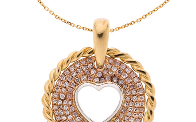 Diamond, Gold Pendant-Necklace Stones: Single-cut diamonds weighing a total...