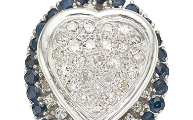 Diamond, Sapphire, White Gold Ring The ring features single-cut...