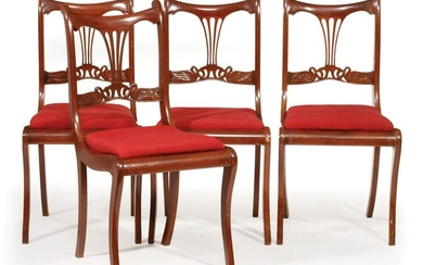 Four Classical-Style Mahogany Dining Chairs