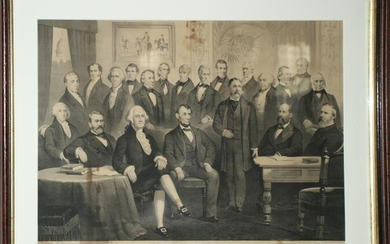Framed Lithograph Titled Our Presidents 1789-1881