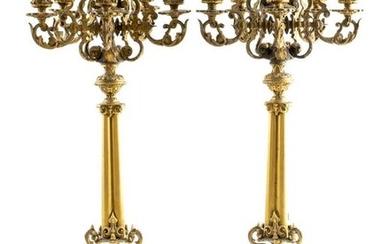 French Gothic Revival Brass Candelabra, Pair