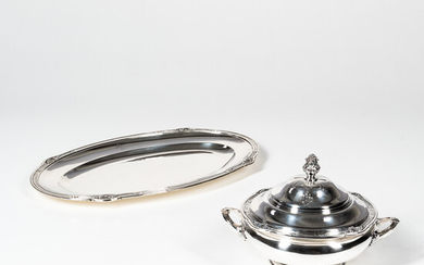 French Sterling Silver Covered Tureen and Platter