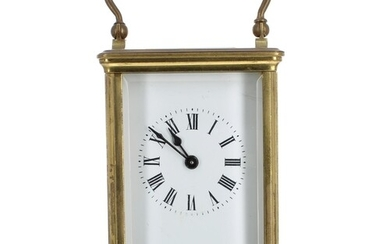 French carriage clock timepiece, within a corniche brass cas...