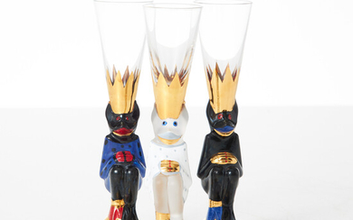 """GUNNAR CYRÉN. Shot glass, 3 pcs. , """"Nobel"""", Orrefors, model designed in 1996, foot in the shape of a crowned devil with polychrome painted decor, 2 pcs. signed GC and painter's signature, white unsigned."""