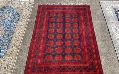Hand knotted pure wool Afghan Kunduzi carpet, approx 290cm x...