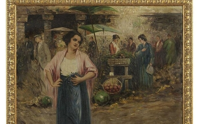 "Italian School (20th Century), ""Village Market"""