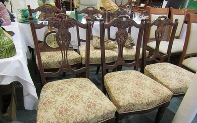 LATE VICTORIAN DINING CHAIRS, set of 6 stained beech dining ...