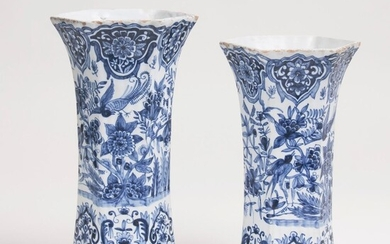 A Pair of Blue and White Delft Vases