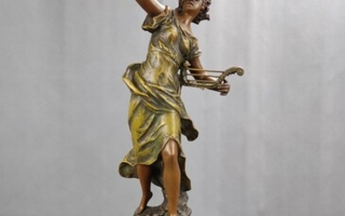 Mantel clock, Auguste Moreau (1834 - 1917), figure of the allegory of autumn, stepped marble base w