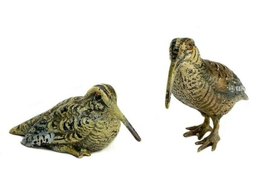 Pair Austrian Cold Painted Bronze Woodcock Figurines