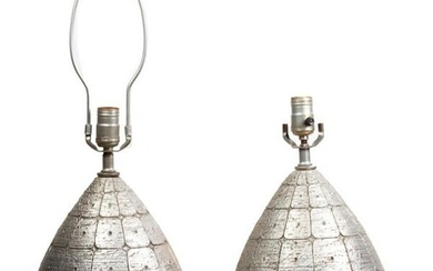 Pair Silver Mid Century Modern Lamps