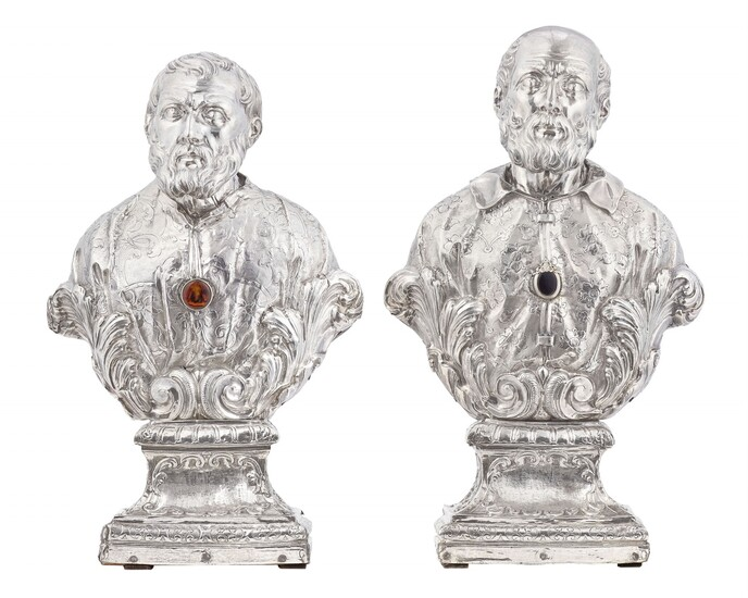 Probably Naples circa 1710 - Two silver reliquary busts