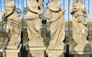Set of four composite stone models of The Four Seasons mount...