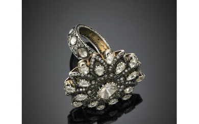 Silver and yellow 9K gold irregular cushion and pear shape table and rose cut diamond ring with round single cut diamonds, the central diamond mm 11x8.50 circa, g 30.20 circa size 18/58.