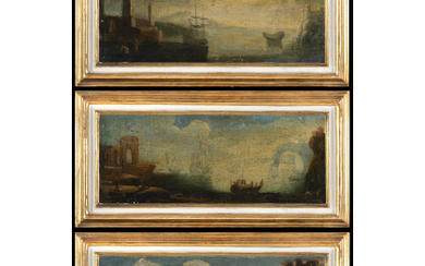 South Italian school, early 18th century Landscape with ruins, figures and sailing ships Three paintings, oil on canvas, 15.5x39.5…Read more
