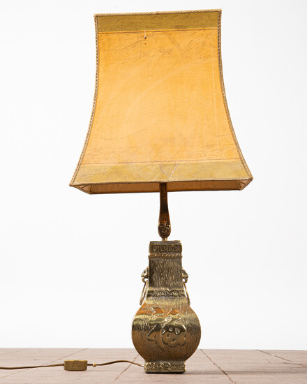Table lamp / lamp, brass, parchment, 1960s.