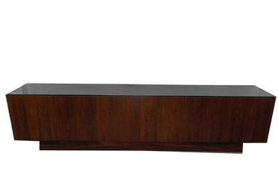 UNKNOWN: A LARGE MID CENTURY STYLE INDIAN ROSEWOOD VENEER CREDENZA, CIRCA 2000S