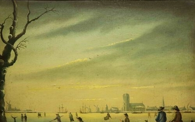 Unsigned Dutch school 'Skaters' naive work oil on canvas marbled...