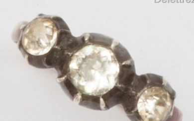 """Yellow gold and silver """"Garter"""" ring, decorated with three stones..."""