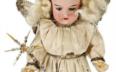 bisque porcelain head doll, AM390 as Christmas angel