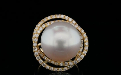 16mm South Sea Pearl, 1.00ctw Diamond and 18K Ring
