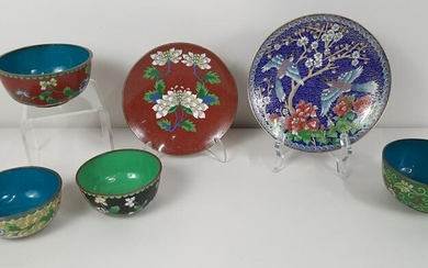 6 Cloisonne Bowls and Plates