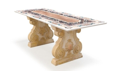 A 20th century refectory table with, coloured stone Pietra Dura top. H. 78. L. 210. W. 85 cm. – Bruun Rasmussen Auctioneers of Fine Art