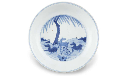 A BLUE AND WHITE 'EIGHT HORSES OF WANG...