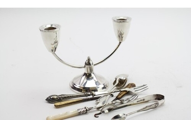 A Candlestick holder along with various other Silver plated ...