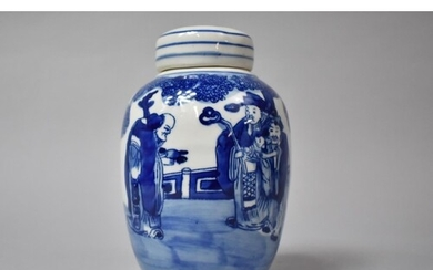 A Chinese Blue and White Ginger Jar and Cover Decorated with...