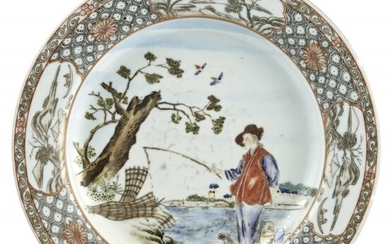 A Chinese European Subject Enameled Porcelain Plate
