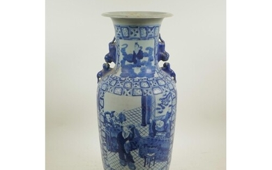 A Chinese blue and white porcelain vase with two fo dog hand...