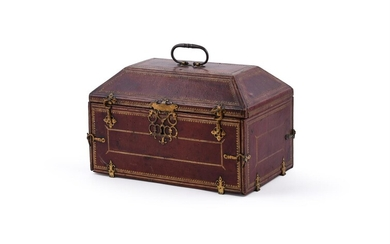 A FRENCH GILT TOOLED RED LEATHER AND GILT METAL MOUNTED CASKET, MID 18TH CENTURY AND LATER